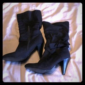 Black suede heeled boots. Size 10